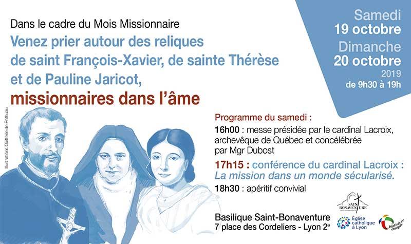 Venez prier autour des reliques de saints missionnaires, les 19 & 20 octobre 2019 à Lyon (69)
