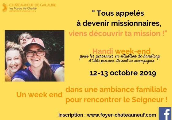 Weekend jeunes adultes en situation de handicap et accompagnateurs les 12 & 13 octobre 2019 à Châteauneuf-de-Galaure (26)