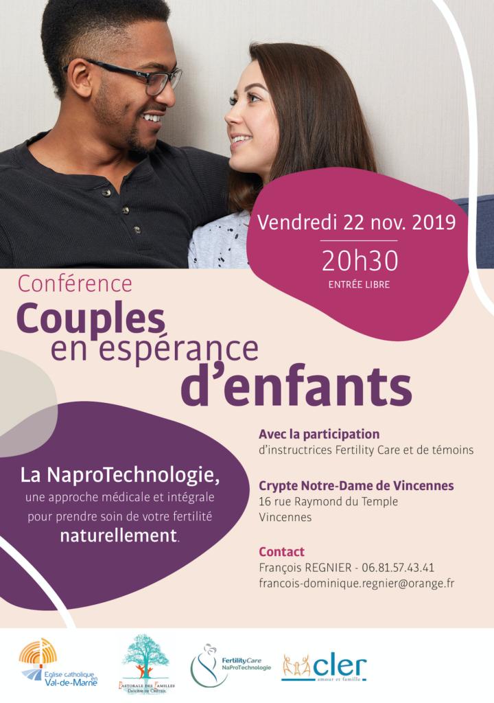 Conférence sur la NaProTechnologie pour les couples en espérance d'enfants – Le 22 novembre 2019 à Vincennes (94)