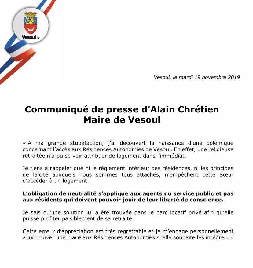Le maire de Vesoul soutient la religieuse privée de maison de retraite