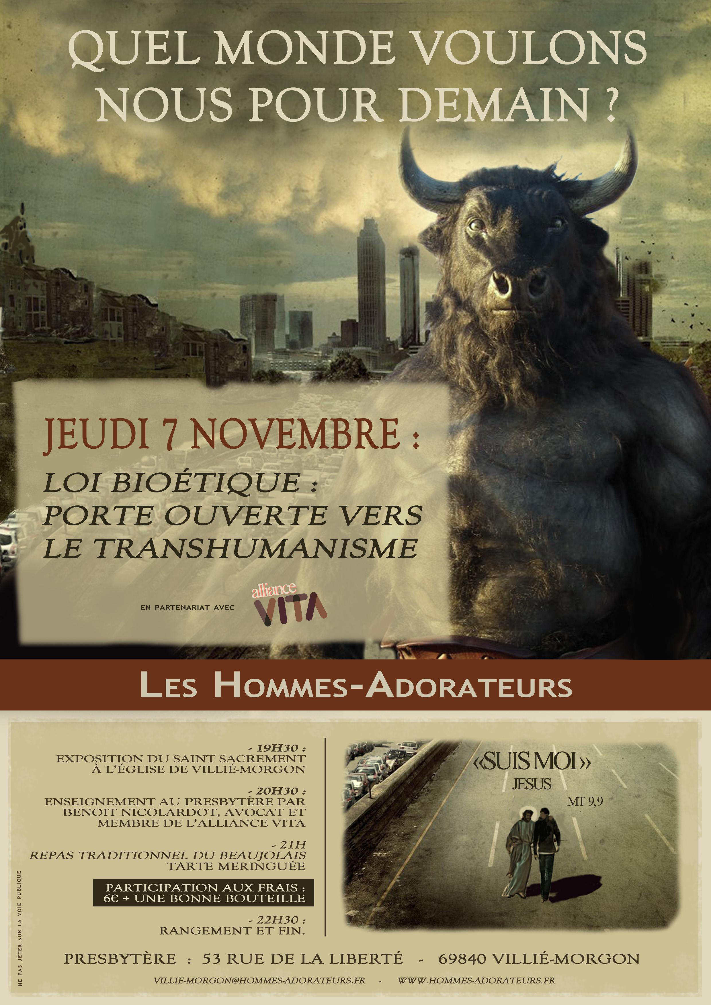 Jeudi 7 novembre 2019: à Villié-Morgon (69) transhumanisme et repas beaujolais!