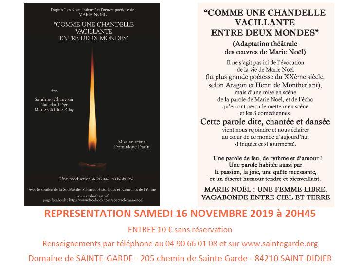 Théâtre:«Comme une chandelle vacillante entre deux mondes» le 16 novembre 2019 à Saint Didier (84)