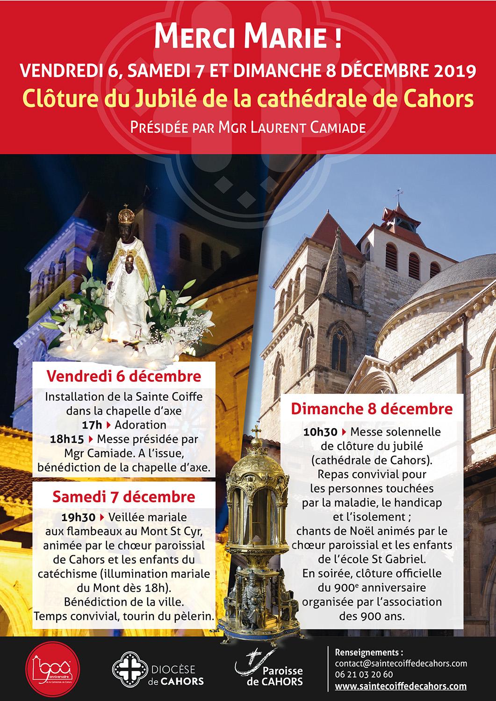 Triduum de clôture du Jubilé de la cathédrale les 6, 7 & 8 décembre 2019 à Cahors (46)