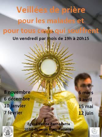 Veillée de prière pour les malades le 8 novembre 2019 à Pau (64)