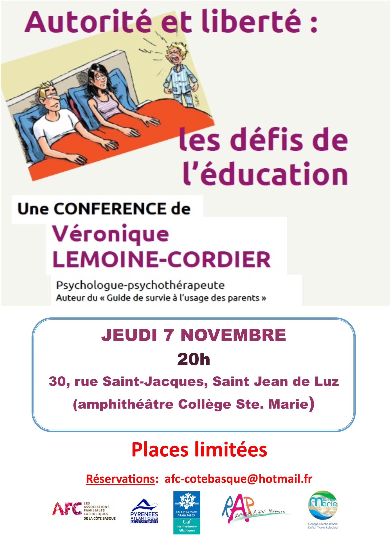 """Conférence: """"Autorité & liberté: les défis de l'éducation"""" le 7 novembre 2019 à Saint-Jean-de-Luz (64)"""