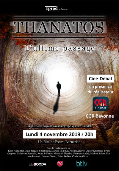 """Projection du film """"Thanatos- L'ultime passage"""" le 4 novembre 2019 à Bayonne (64)"""
