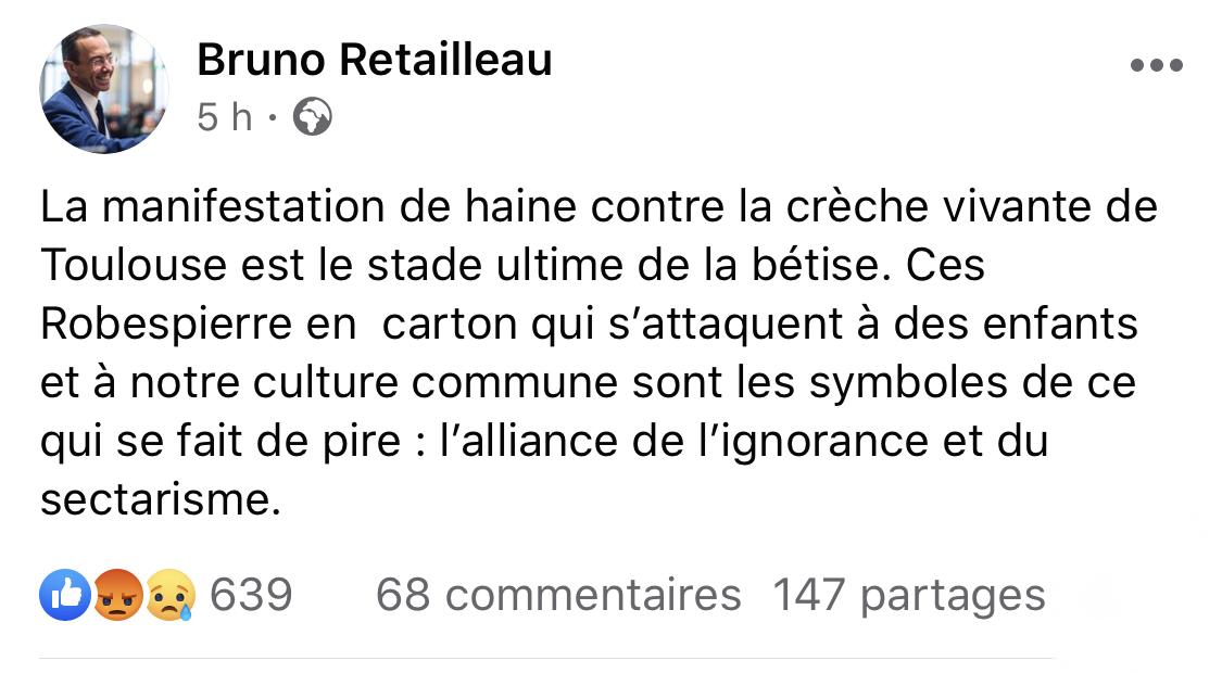 Crèche vivante de Toulouse: la réaction de Bruno Retailleau