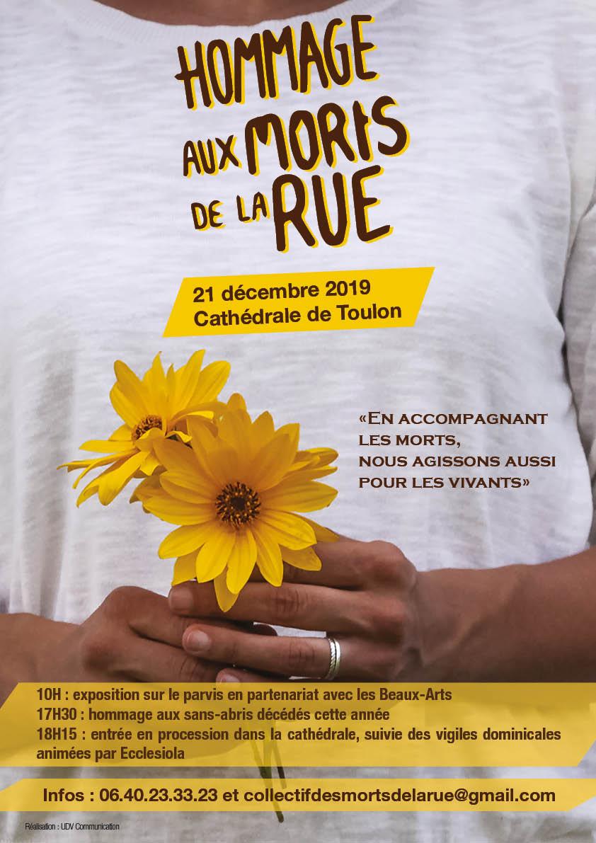 Hommage aux morts de la rue le 21 décembre 2019 à Toulon (83)