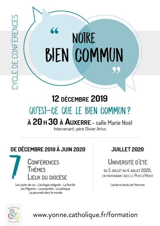 Cycle de sept conférences sur le bien commun: première soirée le 12 décembre 2019 à Auxerre (89)