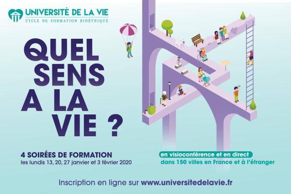 Université de la vie les 13, 20 et 27 janvier & 3 février 2020 dans 150 villes en France et à l'étranger