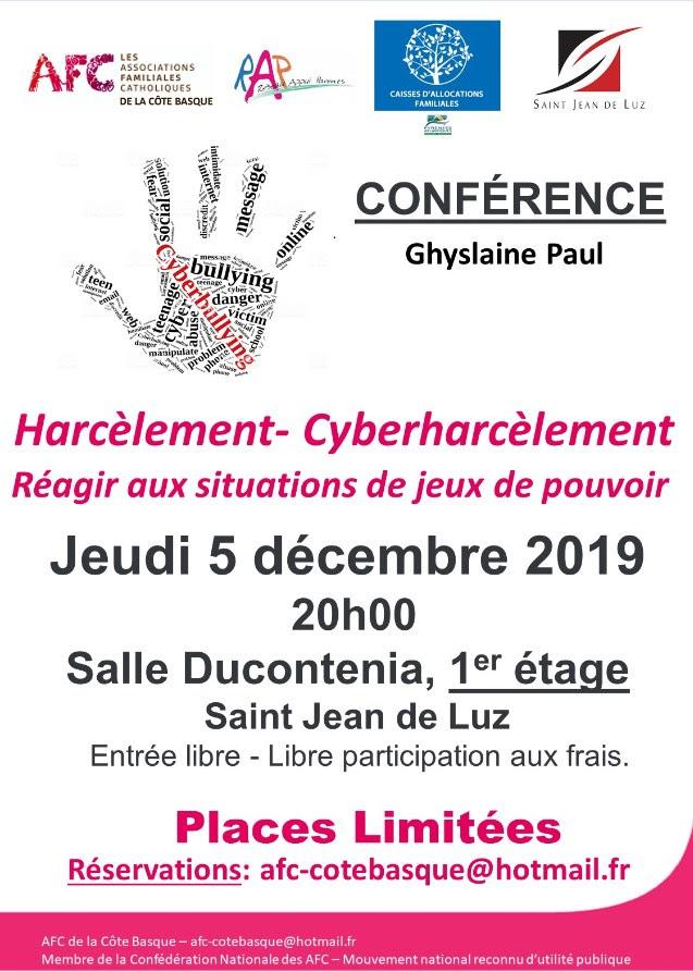Conférence des AFC sur le harcèlement et le cyberharcèlement le 5 décembre à Saint-Jean-de-Luz (64)
