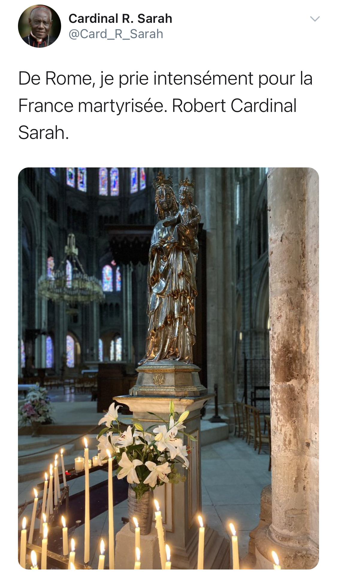 Acte terroriste à Eragny: le cardinal Sarah prie pour la France «martyrisée»