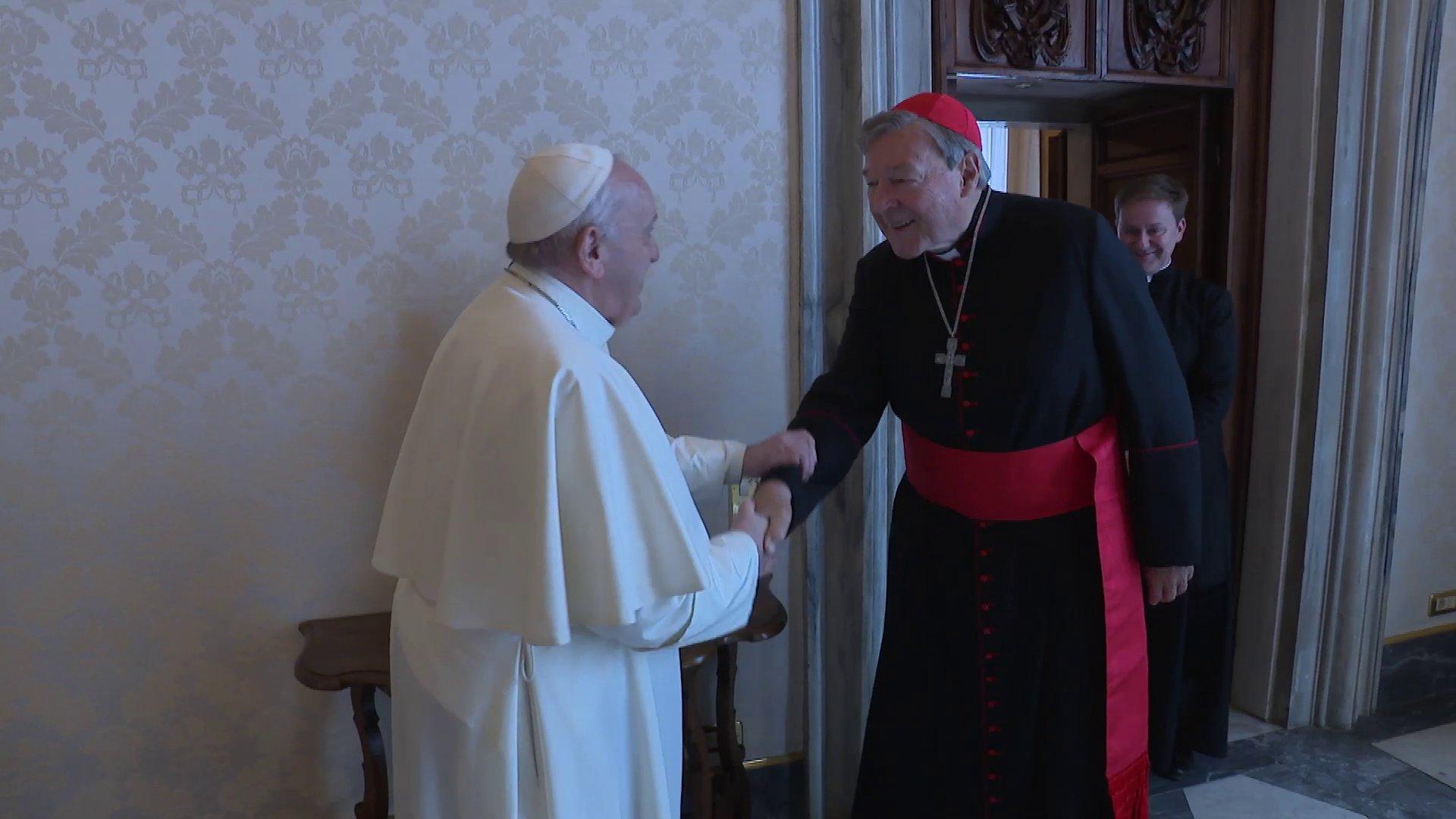 Rome: le Pape François reçoit le cardinal Pell