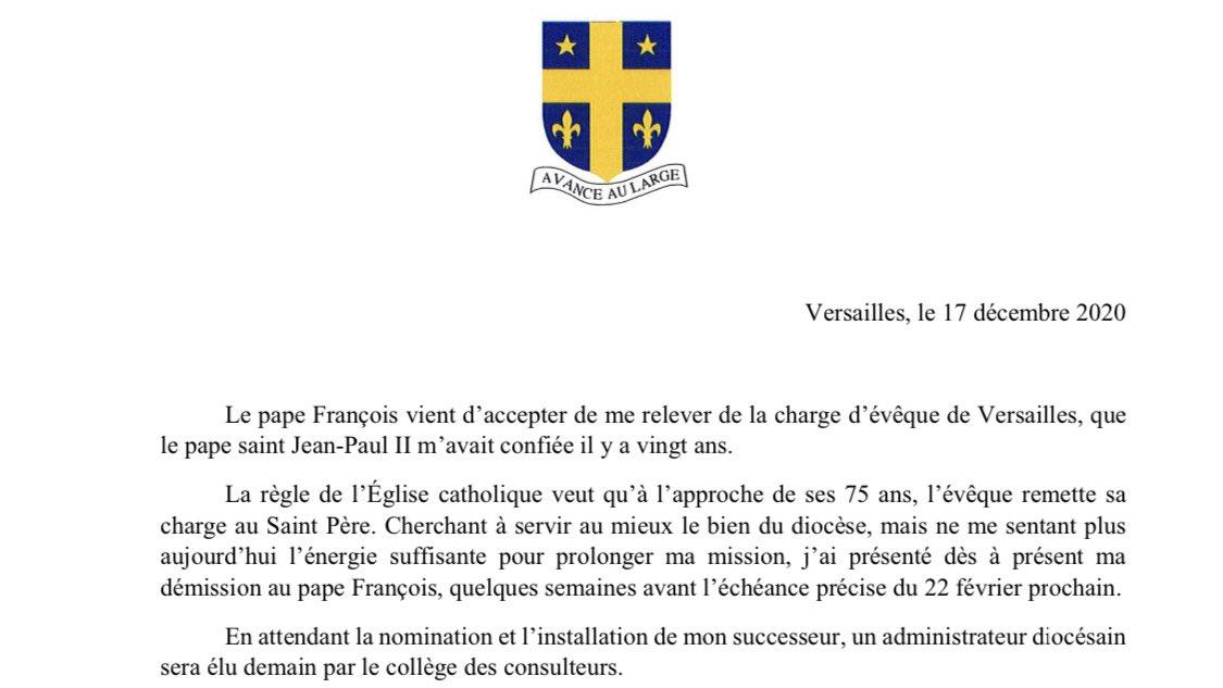 Versailles: Mgr Éric Aumonier relevé de sa charge d'évêque