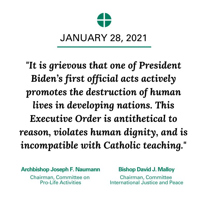 États-Unis: les évêques mettent en cause le décret de Biden qui encourage l'avortement dans les pays en voie de développement