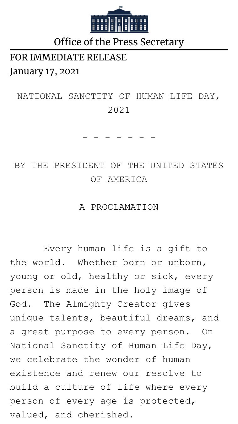 Donald Trump institue une journée de la sainteté de la vie humaine