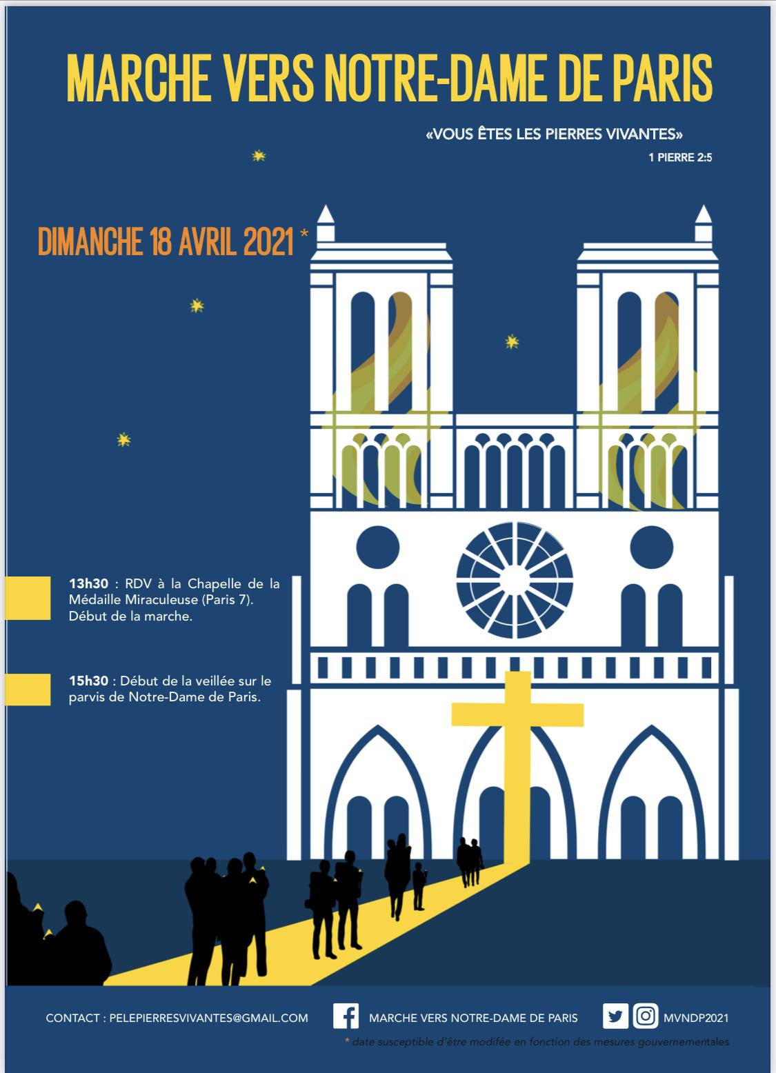 Paris: marche de la Chapelle de la Médaille Miraculeuse au parvis Notre-Dame de Paris