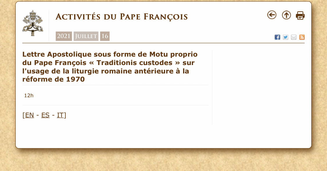 """Motu Proprio """"Traditionis Custodes"""": une restriction significative et problématique du missel traditionnel"""